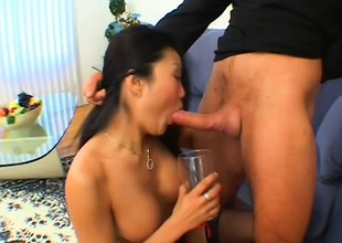 Lucy Lee gets her pain in the neck filled with cum added to squeezes evenly back out of doors