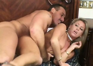 Lustful blonde housewife has two strangers admissible her sexual urges