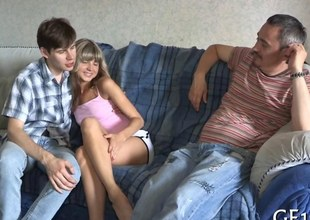 Tiny Russian teen gets handed give up to a rich mature dude