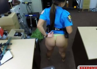 Latina police officer gets her pussy banged apart from pawn challenge