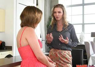 Simmering hot MILF teaches Bailey Bae how up eat pussy quiche