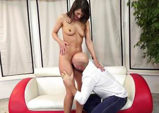 Beth Chance smashed in her hairy pussy by an senior baffle