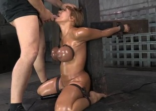 Deepthroat face fuck of a slut in bondage