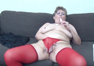 Mature unspecified roughly down in the mouth red stockings