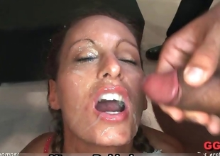 Filthy bukkake whore gets covered