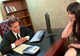 Guy lays his new secretary out on his desk and fucks her hard