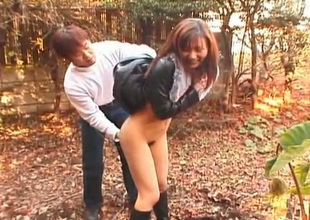 Cute chestnut haired girlie gets pussy licked in rub-down the Japanese garden