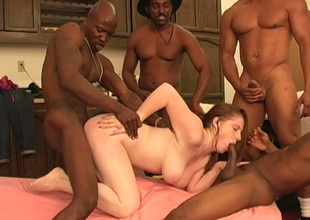 Boobalicious sexpot Jennifer gets dominated by three big black cocks
