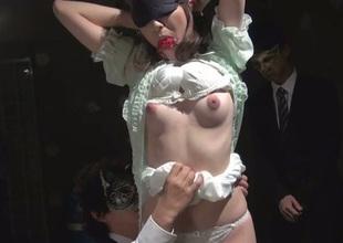 Blindfolded Asian slut Kanako Iioka gets her pussy toyed not far from hot bondage scene