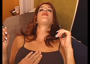 Sassy redhead in X-rated panties gets cum on her natural breast after getting her shaved pussy drilled gin-mill
