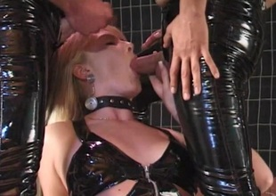 Salacious pamper in leather lingerie gets face fucked in good shape drilled hardcore anal in a artful mmf troika