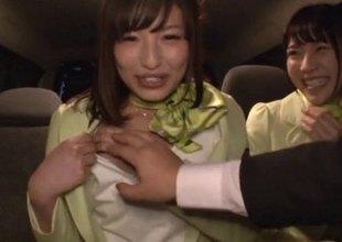 Japanese girls in cute stewardess outfits fuck in public