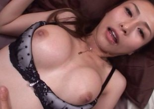 Stunning lingerie set on a Japanese girl shagging your dick