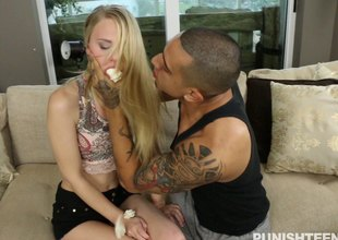 Skinny girl cuffed increased by fucked roughly like a bitch