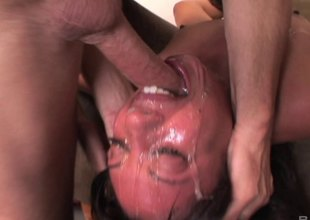 He fucks her throat before coating her light in the air cum