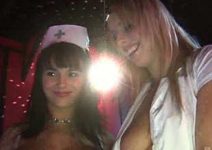 Stripper nurses on stage together with fucking horny customers