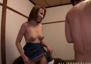 Guy takes an Asian MILF dwelling and fumbling up fucking her mouth