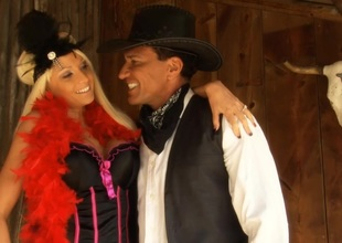 Rikki Six riding a big cock in this XXX Western Parody