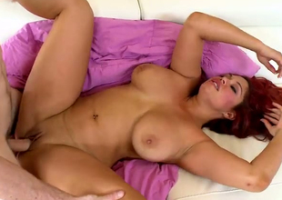 Sultry redhead BBW Helen Cielo pleaes the brush hormy fellow