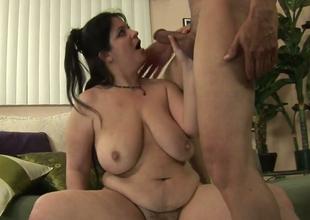 Horny BBW Slut Deb gives some yes good blowjob to a horny man
