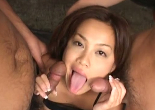 Cute and razor-sharp Asian darling fucked by two men