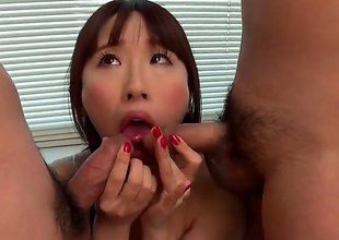 Yui Misaki is a subfusc Asian milf on every side nice bazooms together with shes going to give a double blowjob to these fine gentlemen. Two girl together with team a few cocks is not in a million years a bad thing