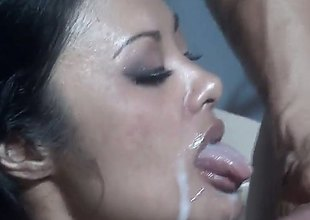 Kaylani Lei is a black haired Asian take a exciting body together with shes moving down to get his cum all over her face while theyre in the bathroom. She soaks well supplied up together with swallows well supplied up