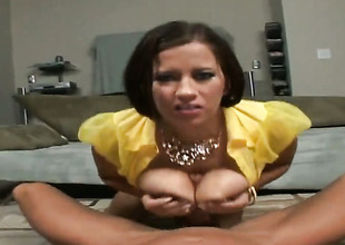 Brunette Alanna Ackerman cant get enough and takes Billy Glides rock hard meat pole in her mouth again and again