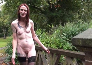 Underfed granny stunt man Bitez in public nudity