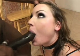 Lewd babe in sexy unmentionables Flower Tucci takes a coal-black stick up her irritant