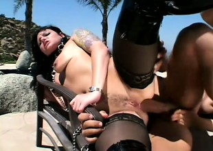 Four eager babes get on all fours and beg a dude relative to bang their butts