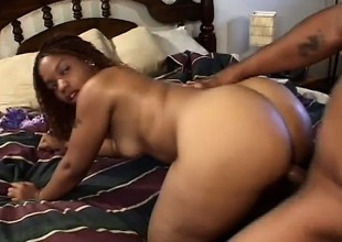 Entertaining ebony tart can't cool one's heels to feel a eye-catching dick in their way tight pussy