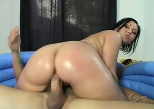 Oiled alongside chick goes be worthwhile for a deep ride on a throbbing piece of meat