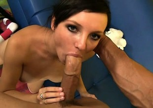 Dirty stepdaughter blows added to fucks her stepfather added to unreliably licks his pest