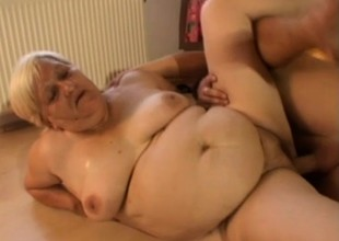 Chubby elderly granny bitch gets a reluctant organization worker to fuck will not hear of