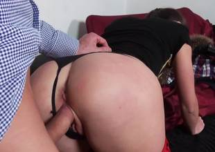 Naughty cutie gets punished down a huge dick dominant be required of the brush cunt