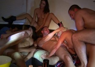 Group sex party is going exceeding in exceeding the Davenport with some girls and guys