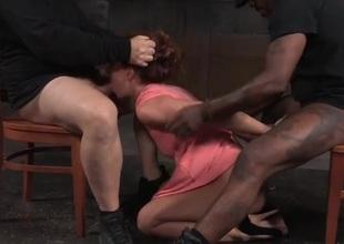 Girl in a seductive pink dress is a servitude slattern