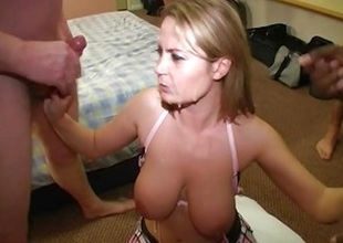 Alexis May gives blowjobs and takes there cum