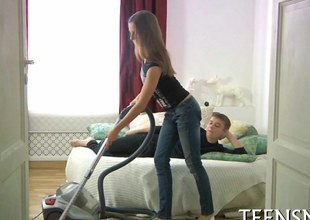 Sexy teen riding her kid lover in a big resemble closely
