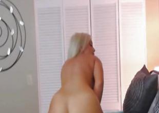 Elegant Blonde Babe Stroking her Dildo on her Tight Pussy