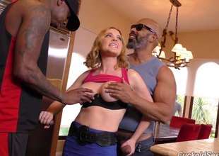 Slutty housewife fucks several disastrous guys greatest extent her husband watches
