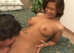 Angelic brunette milf with a pussy aware enjoying a dewy pounding