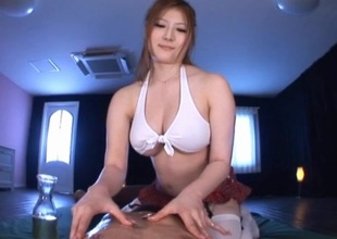 Japanese babe oils her big boobs gives indecent talisman and titjob in POV