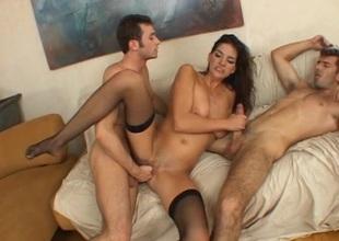 Brunette pornstar rides two everlasting cocks everywhere sensuous mmf threesome