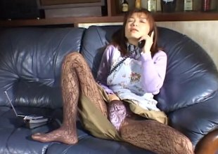 Sweet Asian involving pantyhose masturbates beyond everything dramatize expunge phone