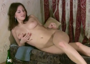 This chick oozes naughtiness during her manhandle sessions