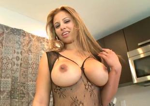 Mega busty trull Gia  expses her nonconforming bottom give nylon
