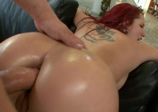Redhead harlot Kelly Divine gets their way ass hole banged hard