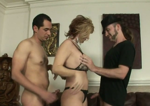 Nasty blonde hoe Brittany Conflagration fucks team a few horny hermaphroditical dudes